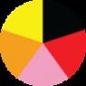Schwarz, Rot, Pink, Orange, Gelb