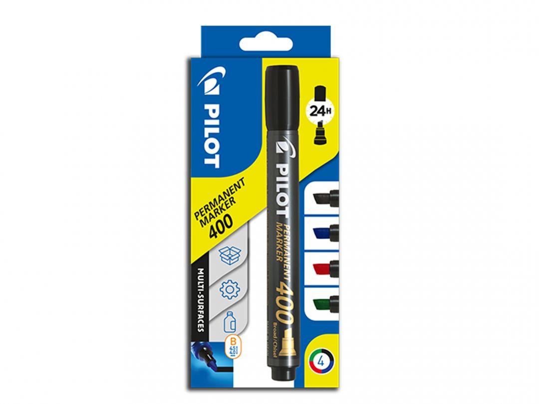 Permanent Marker 400 - Marqueur - Pochette de 4 - Noir, Bleu, Rouge, Vert - Pointe biseautée large