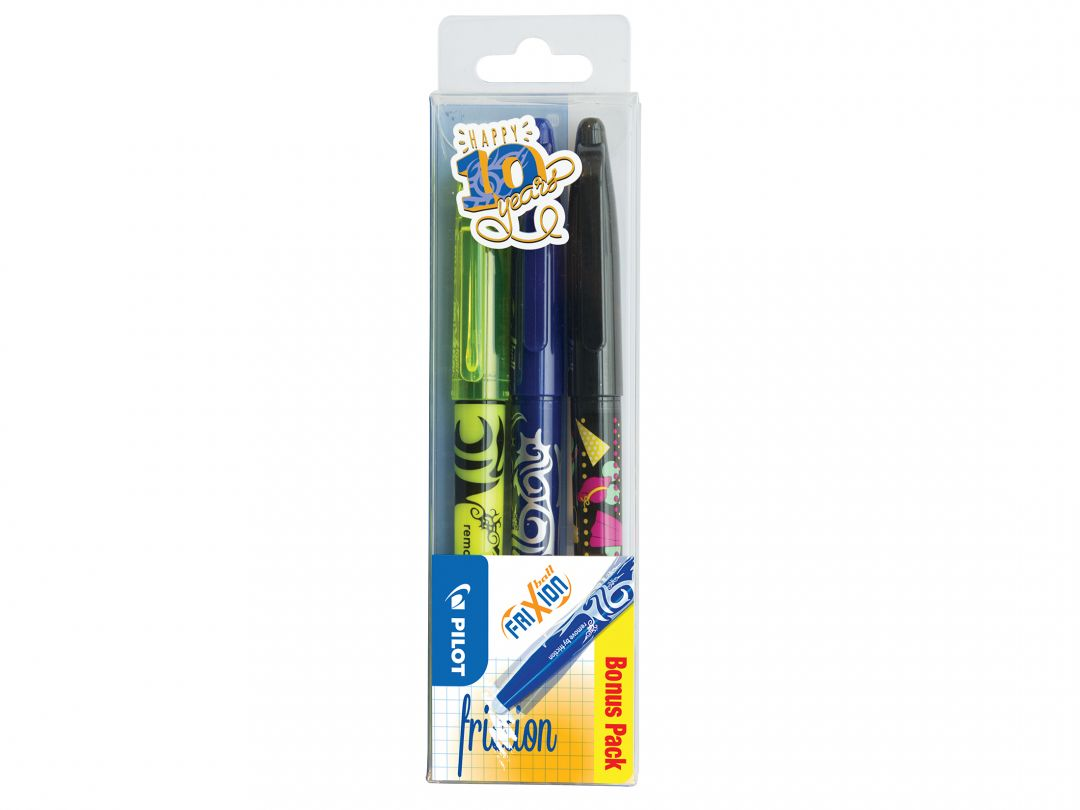 FriXion Ball - Gelroller - Set of 3 - Schwarz, Blau, Gelb - Medium Spitze