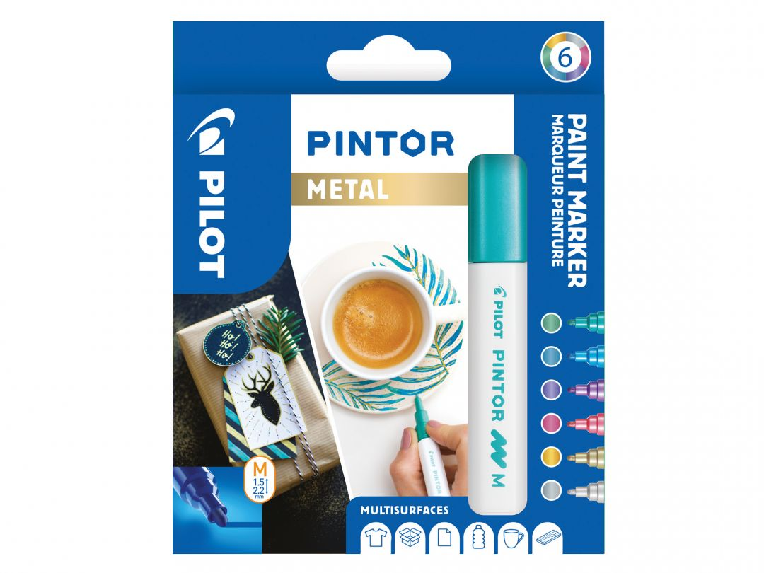 Pilot Pintor - Etui à 6 - [Metallic] - Medium Spitze