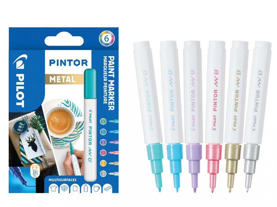 Pilot Pintor - Etui à 6 - Metallic Farben - Extra feine Spitze