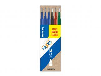 FriXion Ball - Set de 6 Recharges - Noir, Bleu, Rouge, Vert - Pointe Moyenne