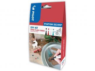 Pilot Pintor - DIY X-Mas Tischkarten Set - Schwarz, Rot, Weiß, Metallicgrün - Feine Spitze